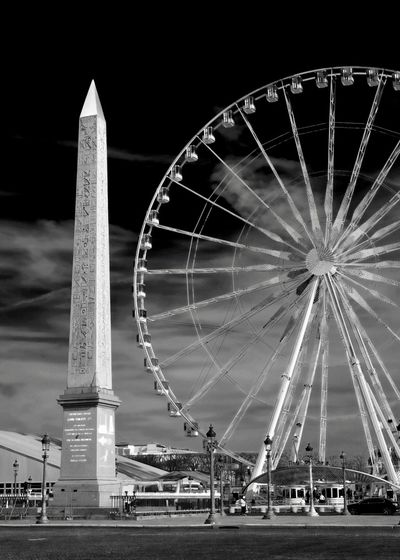Round and round Paris, France  Obelisk Paris Black And White Blackandwhite Arts Culture And Entertainment Ferris Wheel Built Structure Outdoors Travel Destinations Architecture The Architect - 2018 EyeEm Awards