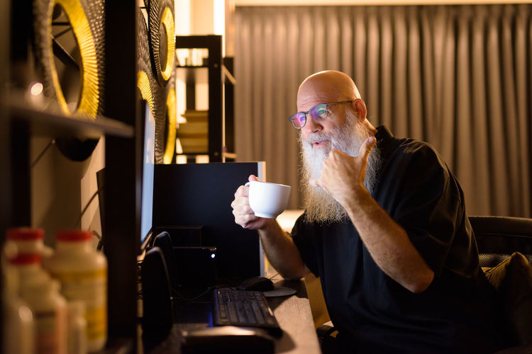 Man drinking coffee cup
