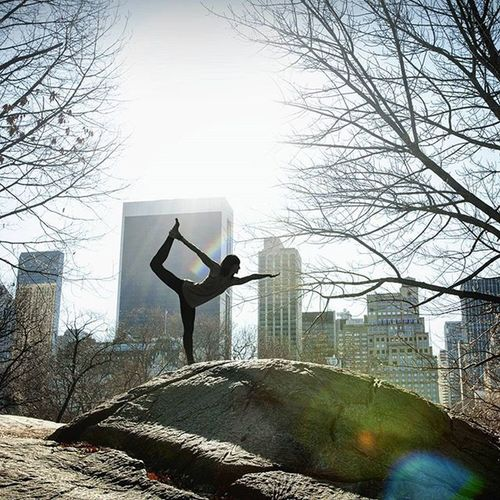 Next week, I'm back off to this beautiful city. . . . NYC Newyork City Betterthanoldyork Yoga Yogie CentralPark USA Us Buildings Pose Stretch Canon Photographer Sky Sunny Reach Trees Cold Chilly Rock Stone Girl Woman Fitness fit exercise