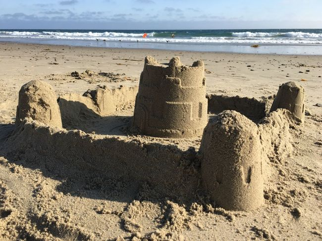 Dreams Summertime Fun In The Sun Kids Activities Beach Land Sea Water Sand Sandcastle Nature Horizon Over Water Creativity Sky Sunlight Art And Craft Horizon Beauty In Nature Day Scenics - Nature Tranquility Shadow Tranquil Scene