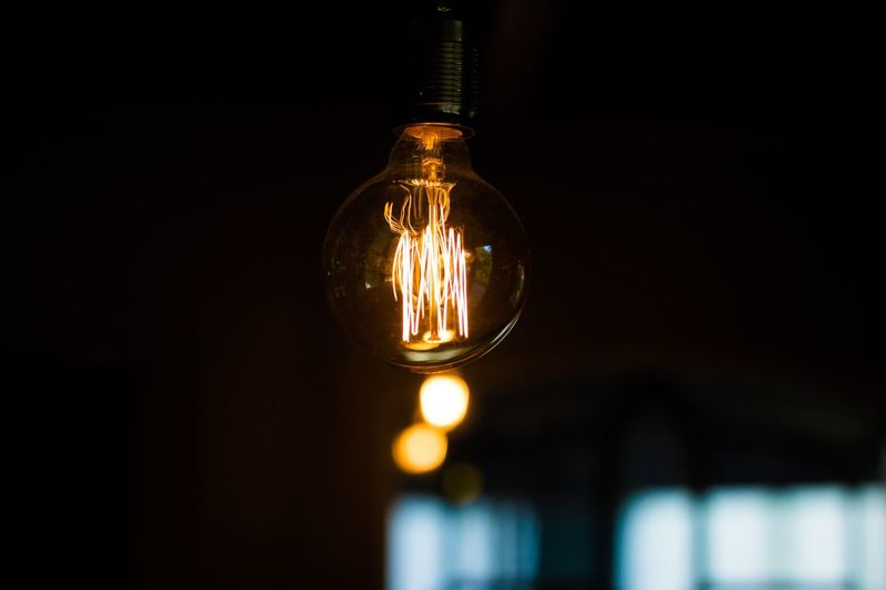 EyeEm Selects Light Bulb Electricity  Lighting Equipment Illuminated Filament Close-up Hanging No People Focus On Foreground Technology Indoors  Yellow Gridlove Paint The Town Yellow