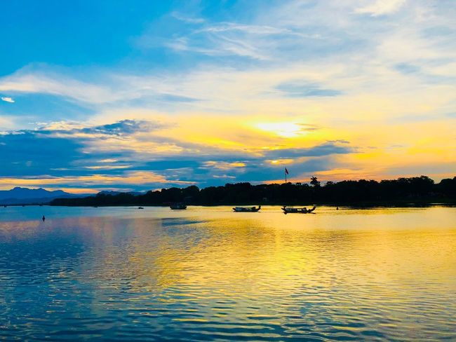 Huong River Water Sky Waterfront Cloud - Sky Scenics - Nature Beauty In Nature Nature Sunset Tranquil Scene Silhouette Transportation No People Sea