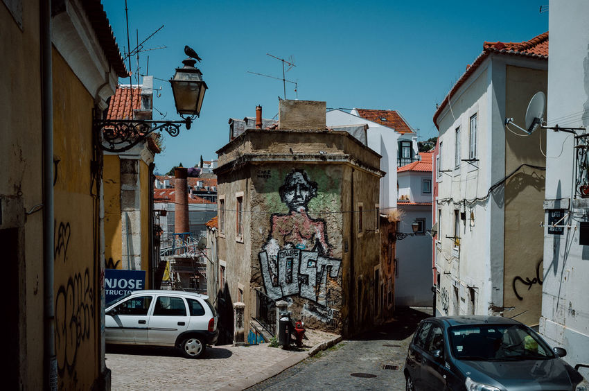 Portugal Street View Architecture Atmospheric Mood Built Structure Colorful Day Decayed Beauty Decaying Building Graffiti Art Heat Heat - Temperature Lisbon Old Scenery Southern Street Streetphotography Sun Urban
