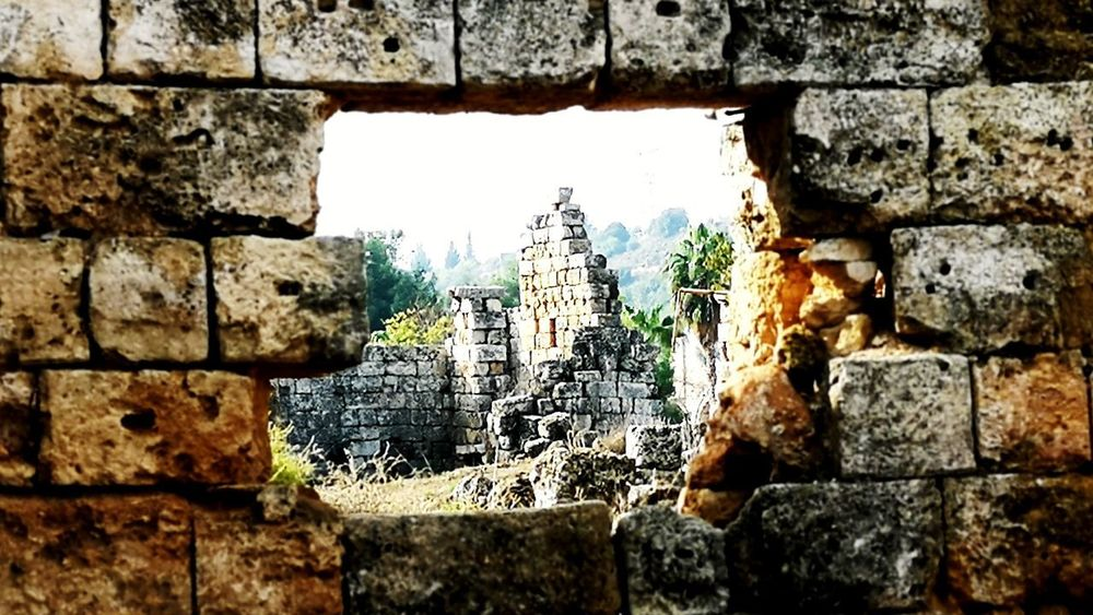 Perge Antique Excavation Close-up Architecture Built Structure Building Exterior Sky Brick Wall Wall - Building Feature Stone Wall Stone - Object Rough Weathered Textured  Bad Condition Stone Material Mounted EyeEmNewHere