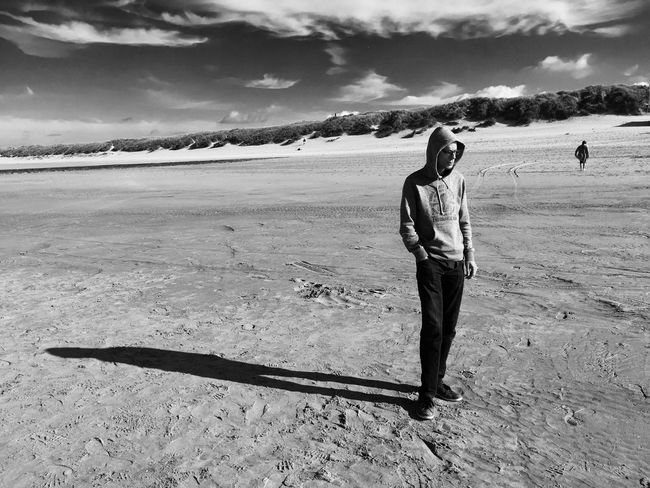 Beach Person Shadow Bredene Blackandwhite Black & White Blackandwhite Photography Noir