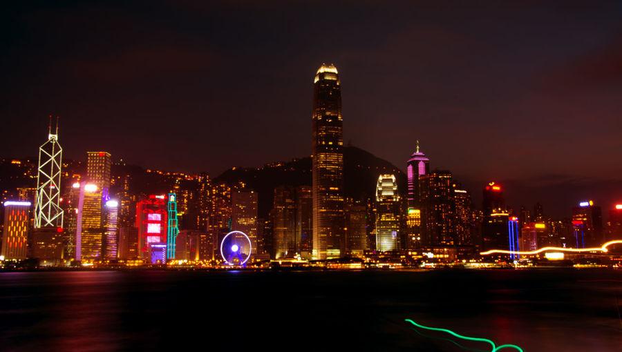 View of illuminated skyline at night
