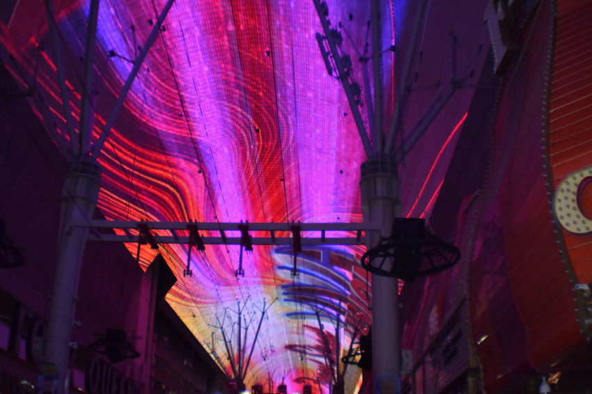 Freemont Street Experience Illuminated Multi Colored City Popular Music Concert Architecture Summer Exploratorium