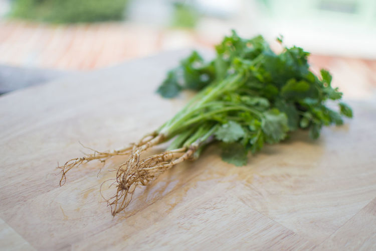 Green Close-up Coriander Cutting Board Day Focus On Foreground Food Food And Drink Freshness Green Color Healthy Eating Herb High Angle View Indoors  Leaf No People Plant Selective Focus Still Life Table Vegetable Wellbeing Wood - Material