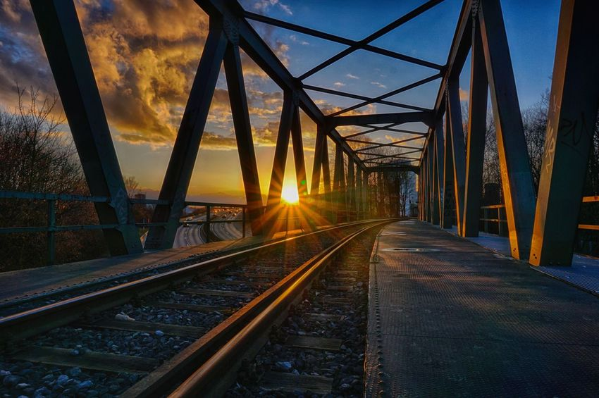 Münster Architecture Bridge - Man Made Structure Built Structure Connection Day Ms4l Ms4life Münsterland Nature No People Outdoors Rail Transportation Railroad Track Sky Sun Sunlight Sunset The Way Forward Transportation