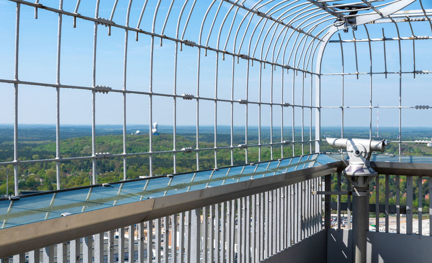 Cityscape Funkturm Railing Skyline Architecture Barrier Boundary Built Structure Ceiling Clear Sky Day Fence Metal Nature No People Outdoors Pattern Platform Protection Railing Security Sky Spyglass Sunlight Telescope Teufelsberg View Point
