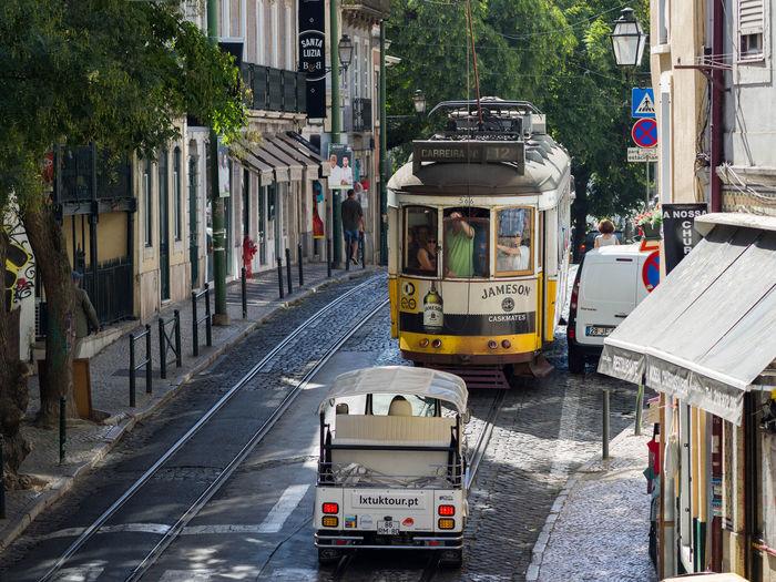 Lisbon Tram Portugal Retro Sunny Tram City Day Land Vehicle Lisbon Mode Of Transport Public Transportation Retro Tram Transportation