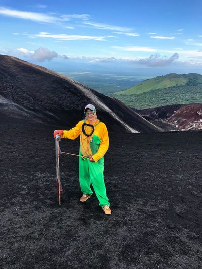 Cerro Negro Volcano Nicaragua VolcanoBoarding Extreme Sports Boarding Adrenaline Adventure Lava Field Full Length One Person Mountain Cloud - Sky Outdoors Day Sport Jumpsuit Landscape Sports Uniform People
