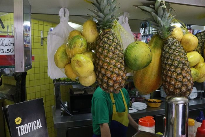 """Tropical"". April, 2017 Streetphotography Saopaulo Saopaulocity Brazil Fruit Market Food Food And Drink Retail  Banana Freshness Small Business Healthy Eating Occupation Real People One Person Day Outdoors People Supermarket Butcher Adult"