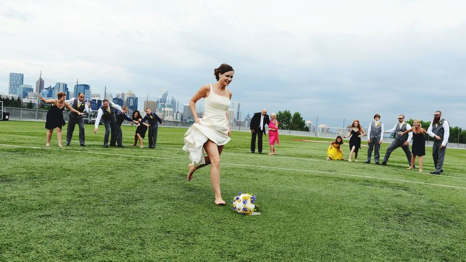 Weddings Around The World i am a football fans,so do the Bride ! Game On Penalty Kick @ YYC