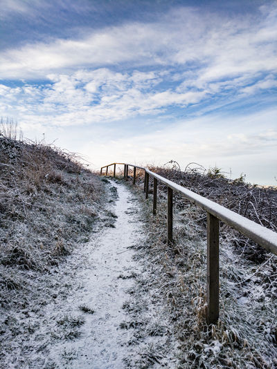 snowy path Path Uphill Wales UK Brambles Winter Rail Going Up Footpath Beach