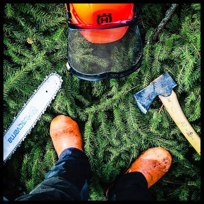 Oh, I'm a lumberjack, and I'm okay, I sleep all night and I work all day. Chainsaw Ax Fitness