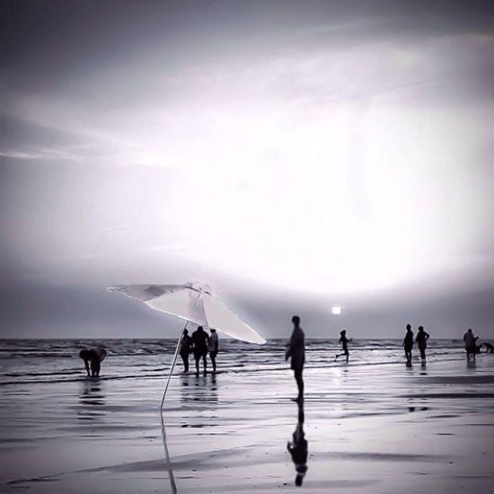 People at seaside