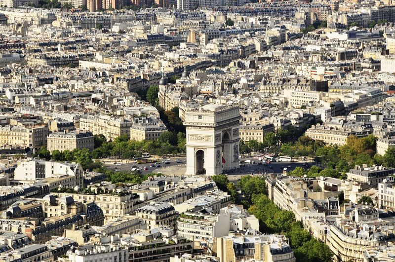 Aerial view of arc de triomphe and cityscape