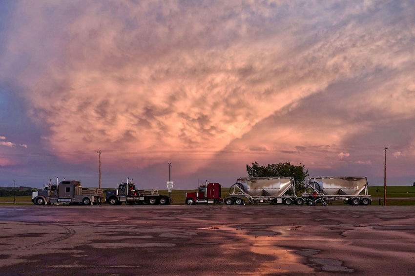 Sunset in Cochran in Canada. Alberta Cloud Parking Lot Canada Cochrane Day Nature No People Outdoors Sky Sunset Trucks