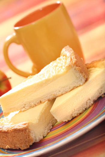 Close-Up Of Cheesecake Slices In Plate
