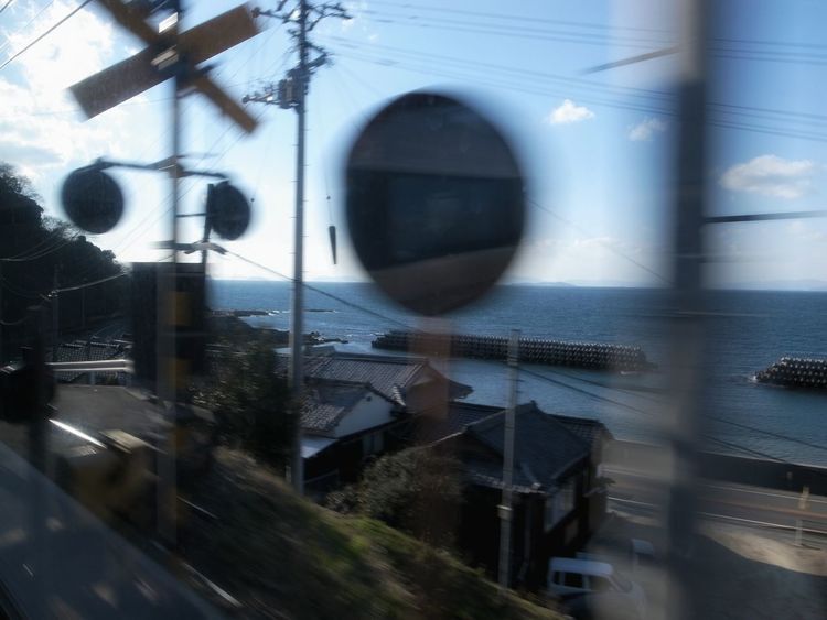 Seaside Seascape From Train Window Good Composition Showing Imperfection Railroad Crossing On The Train Train Travel From My Point Of View From My Window EyeEm Best Shots 電車旅 車窓から