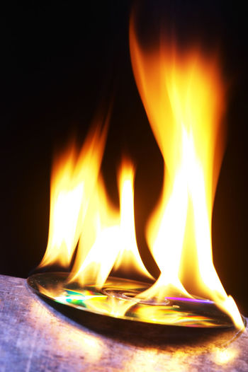 cd on fire Burning Compact Disc Flame Black Background Cd Close-up Communication Fire Fire - Natural Phenomenon Flame Glowing Heat - Temperature History Illuminated Indoors  Light - Natural Phenomenon Long Exposure Motion No People Outdated Outdated Tech Storage