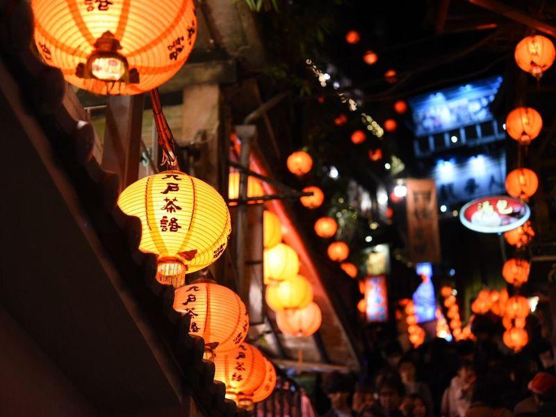 Asian Culture Stairs Walking Around Nightphotography Lantern Hanging Chinese Lantern Lighting Equipment Illuminated Paper Lantern Night Low Angle View