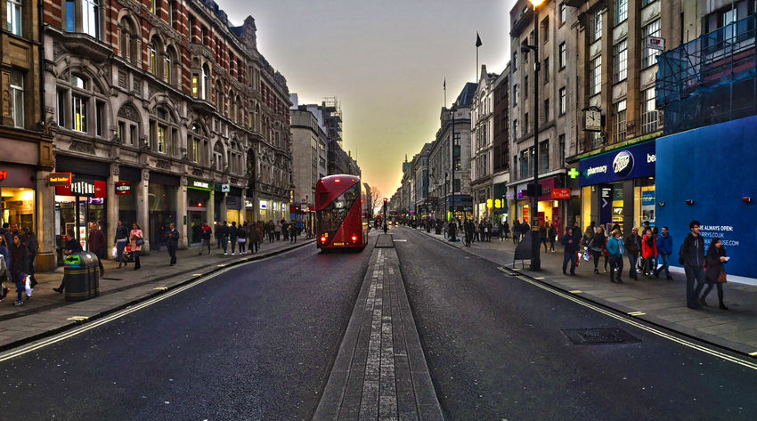 panoramic image of oxford street in central london Architecture Building Exterior Built Structure Car City City Life City Street Incidental People Land Vehicle Large Group Of People Oxford Street  Panorama Person Road Road Marking Shopping Sky Street The Way Forward Transportation Walking Wide Angle
