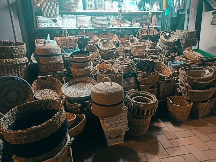 High angle view of wicker basket for sale in market