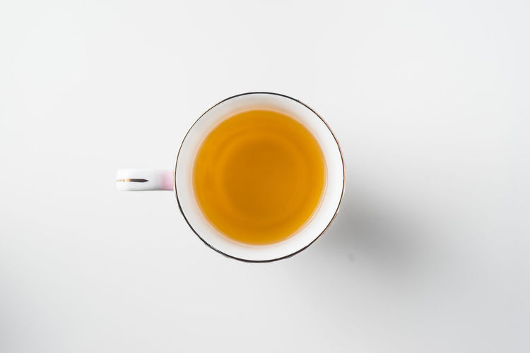 Directly above shot of tea cup against white background