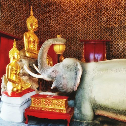 Thailand Bangkok Thailand. Buddhist Temple Gold Colored Wat Religion Statue Cultures Elephant Buddha Buddhism