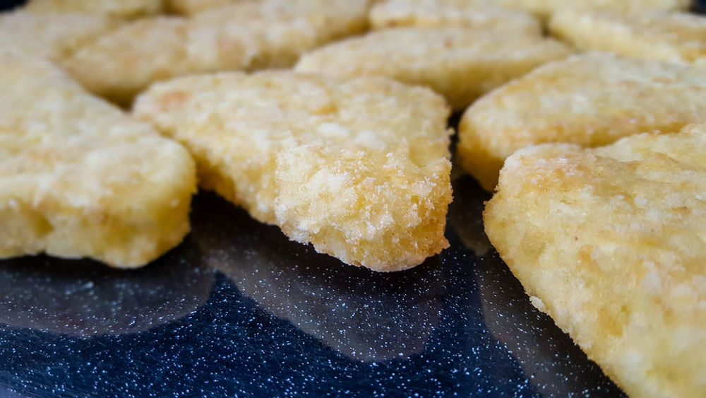 Frozen hash browns on an oven tray Close-up Food Food And Drink Frozen Hash Brown Hash Browns