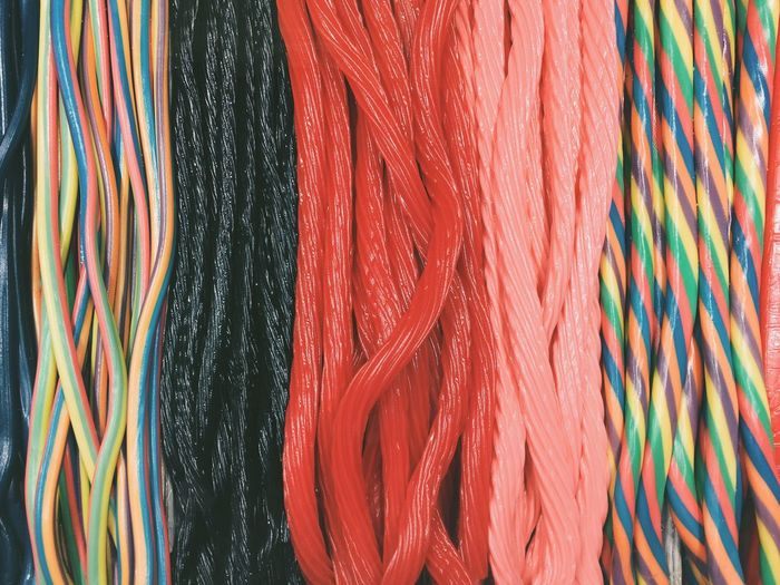 Full frame of twisted rainbow candy licorice
