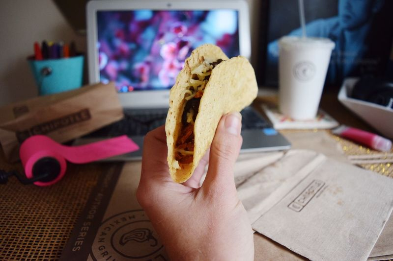 Food Taco Tacos Desk My Desk Laptop Indoors  Indoor Inside Girl Girly Eating Eat Mexican Chipotle Show Us Your Takeaway!
