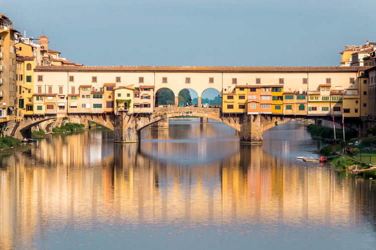 Arch Bridge Architecture Bridge Built Structure City Florence Italy Ponte Vecchio Reflection River Travel Destinations Water