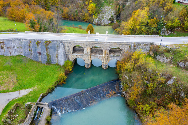 High angle view of bridge over lake during autumn