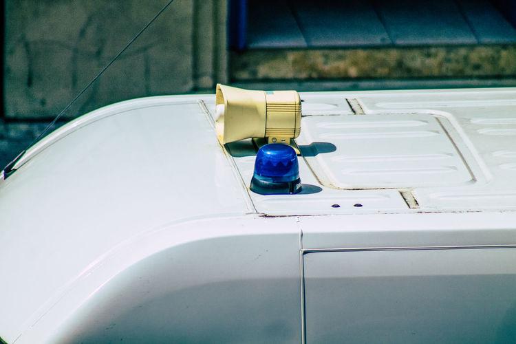 High angle view of ambulance on road