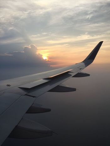 Prepare sunset Airplane Air Vehicle Sky Sunset Mode Of Transportation Aircraft Wing Transportation Flying Beauty In Nature No People Cloud - Sky Outdoors Mid-air Travel Aerial View