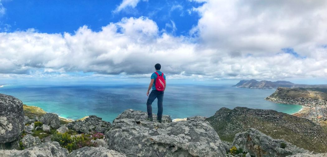 On top of the world Sea Rock - Object Nature Horizon Over Water Real People Scenics Sky Standing One Person Water Beauty In Nature Cloud - Sky Leisure Activity Full Length Day Tranquil Scene Lifestyles Casual Clothing Rear View Outdoors Hiking Accent Mountain Rocky Mountains Silvermine Nature Reserve