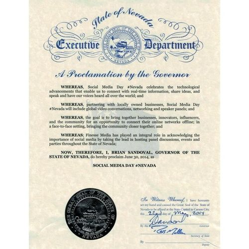 Official @Mashable Social Media Day Nevada proclamation. Can't wait for June 30th! SMday SmdayLV SmdayNV socialmedia