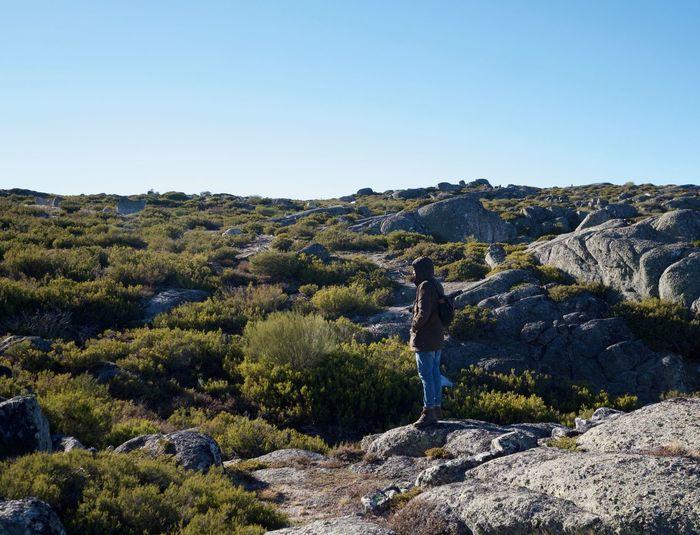 Hiker standing on landscape against clear blue sky