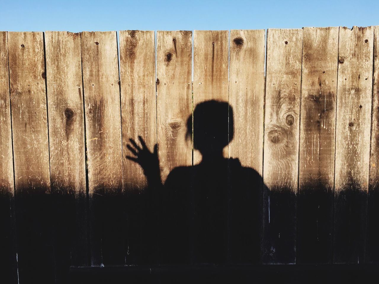 Shadow of person gesturing in front of wooden fence