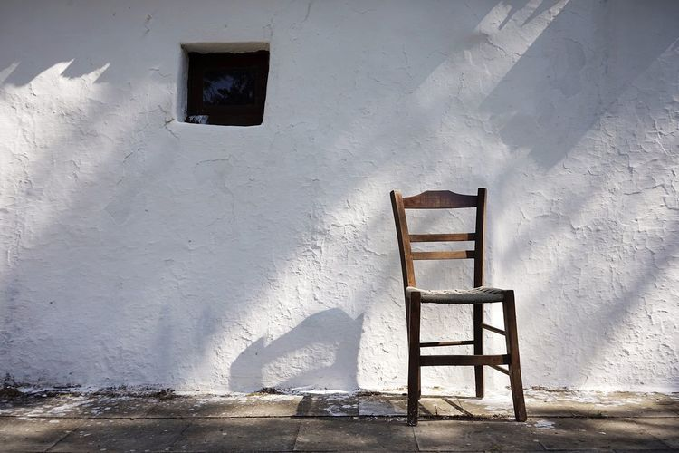 Crete Greece Church Architecture Seat Built Structure Chair Wall - Building Feature No People Day Sunlight Nature Shadow Outdoors Building Abandoned Wood - Material Old