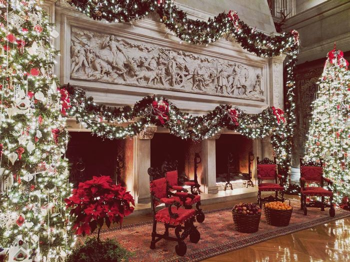 Christmas Decoration Indoors  Illuminated Tradition Holiday - Event Home Interior Built Structure Travel Destinations Portrait Of America Vanderbilt Mansion Indoors  Great Atmosphere