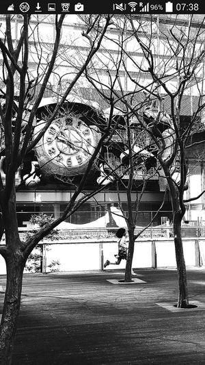 Running Girl Bare Trees Hayao Miyazaki Shiodome Tokyo Japan Travel Photography
