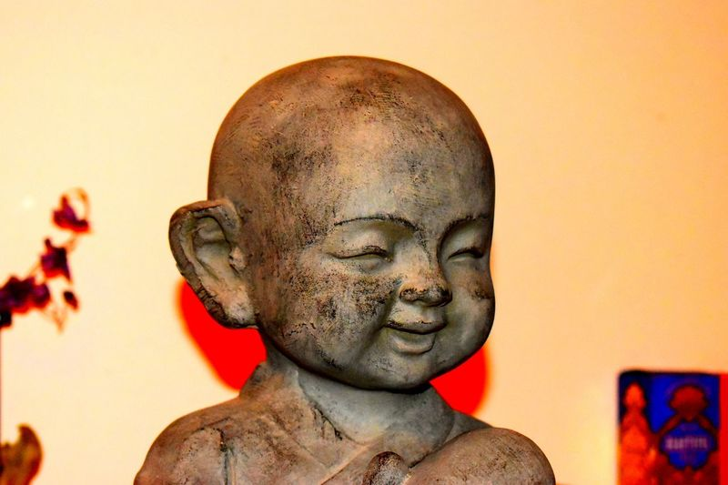 Bouda Statue Studio Shot Shaved Head Close-up Idol Outdoors Day Meditation Home Sweet Home