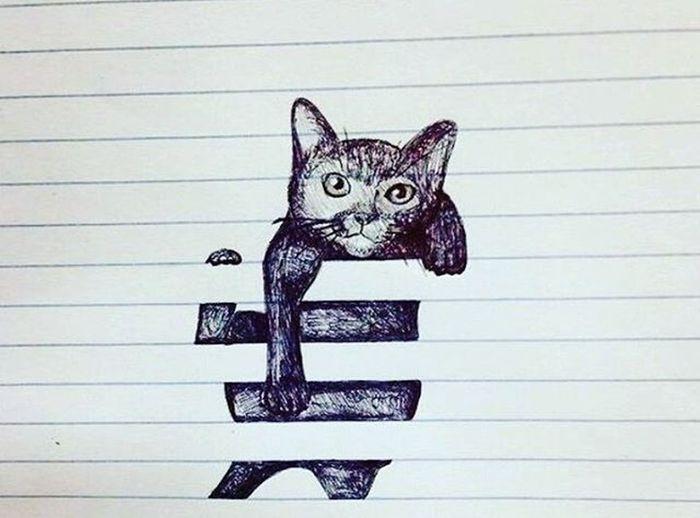 Domestic Cat Feline No People Animal Themes Pets Leopard Outdoors Day Drawing - Art Product Drawing ✏ Whisker Portrait Cartoon Follow4follow Followback Followbackteam