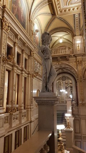 Low angle view of statue in illuminated building