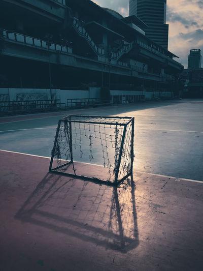 Abandoned goal on stadium