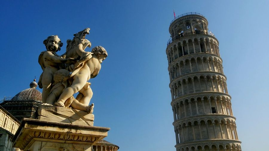 Architecture Low Angle View Built Structure Building Exterior Travel Destinations Sculpture Clear Sky Blue Art And Craft Famous Place Tourism Statue History Tall - High Creativity Monument The Past Outdoors Architectural Feature Day Pisa,Italy